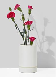 5in White Ceramic Cylinder Vase