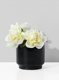 5in Round Black Ceramic Vase