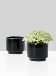 3 1/2in Black Ceramic Bowl, Set of 2