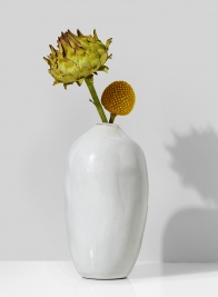 5 1/2in White Glazed Potter's Bud Vase, Set of 4
