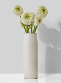 3 x 9 1/2in White Ceramic Potter's Vase