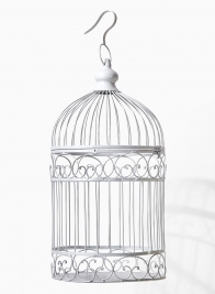 white decorative wedding birdcage