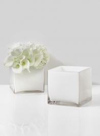 6in White Glass Cube