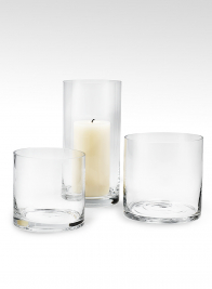 clear round cylinder glass vases