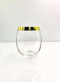 6in Gold Rim Glass Balloon Vase