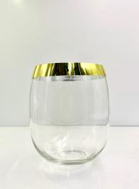 8in Gold Rim Glass Balloon Vase