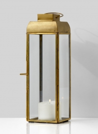 Alazhar Square Gold Lantern, 9 1/2in H