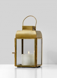 Alazhar Square Gold Lantern, 5 3/4in H