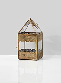 8in H Antiqued Rust Bronze Ajmer Square Lantern