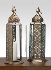 16in Antique Bronze Jaipur Pattern Panel Lantern