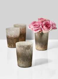 pink roses ombre gold ribbed vase