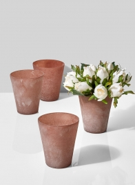 terracotta frost glass vase with roses