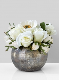 white rose peony centerpiece fishbowl vase