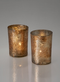4in Vintage Bronze & Silver Glass Votive, Set of 4