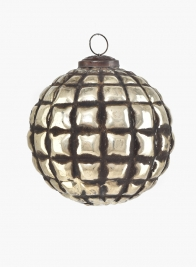 5in Silver & Black Glass Ornament