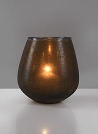 5 1/2in Mesopotamia Bronze Balloon Glass Votive Holder