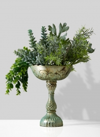 succulent centerpiece in patina flower compote bowl