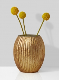 amber mercury glass vase with billy buttons