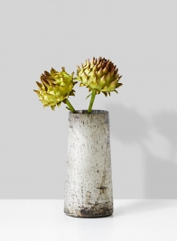 dried artichoke in vintage glass vase