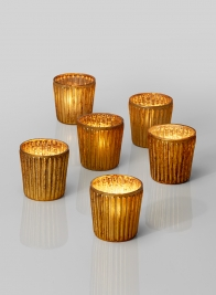 ribbed amber mercury glass votives