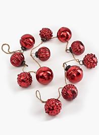 43in Red Mercury Glass Ball Ornament Garland