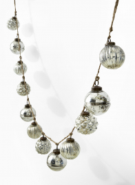 silver mercury glass ball ornament garland
