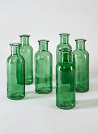 Green Glass Bottle Bud Vase, Set of 6