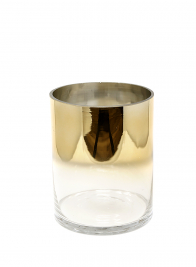 6 1/4 x 8in Gold Ombre Glass Cylinder Vase