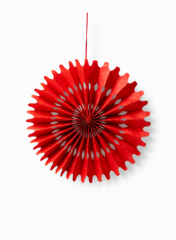 red paper wheel accordion christmas ornament