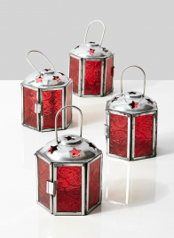 3in Red Lantern, Set of 4