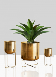 12 3/4in, 23in, & 26in High Gold Soho Planter With Stand