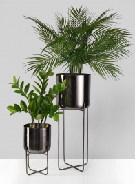 Black Nickel Soho Planters With Stand