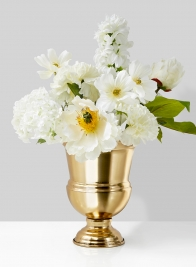 white wedding flower centerpiece in gold urn
