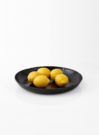 lemons in black metal tray