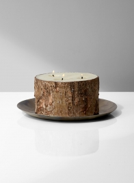 birch pillar candleholder iron plate