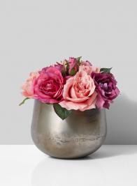 silk rose bouquet in iron bowl