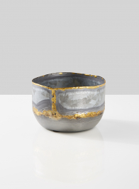 5in Zinc Bowl with Gold Accents
