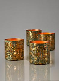 Verdigris & Gold Pierced Iron Votive Holder
