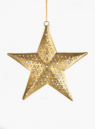 5 1/2in Gold Iron Star Ornament