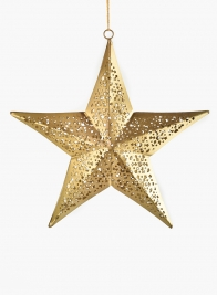 7 1/2in Gold Iron Star Ornament