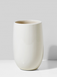 6 1/2in High White Porcelain U Vase
