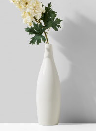 White Porcelain Bottle Vase, 12 1/2in