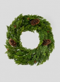 24in Green Cypress Wreath With Pine Cones