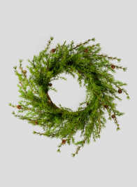 32in Green Cypress Wreath With Mini Pine Cones