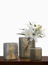 Mosaic Glass Tile & Crackled Glass Vases