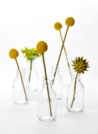 glass bottle billy button wedding centerpiece idea