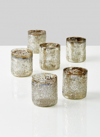 3 1/4in Iced Silver Glass Votive Holder, Set of 6