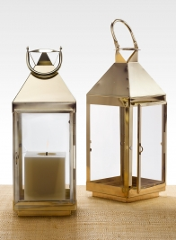 16in Shiny Brass Square Lantern