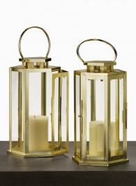 11in Shiny Brass Hexagonal Lantern