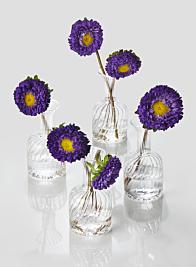 4in Optical Glass Cylinder Bud Vase, Set of 4